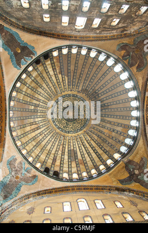 The main dome, Ayasofya (Hagia Sophia) cathedral and mosque, Istanbul, Turkey - Stock Photo