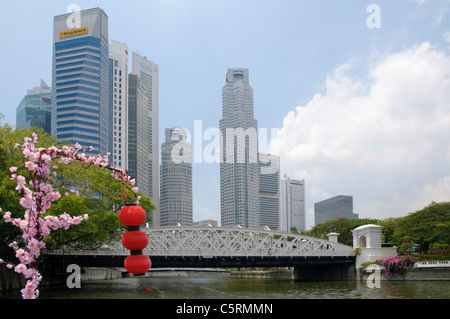 Red lanterns and flowers found on a boat trip along the Singapore River, skyscrapers of the financial district, - Stock Photo