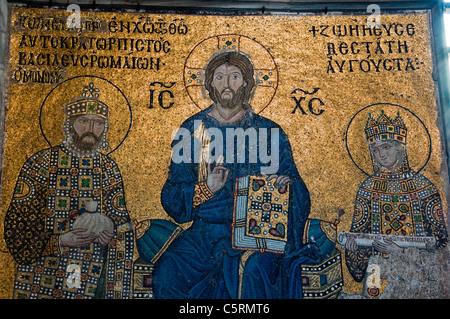 Mosaic of Jesus Christ pantocrator with Emperors John II and Irene, Ayasofya (Hagia Sophia) cathedral & mosque, - Stock Photo