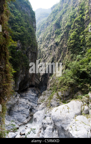 Stream flowing through marble canyons, Tunnel of Nine Turns, Taroko National Park, Hualien, Taiwan - Stock Photo