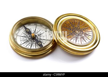 Antique brass compass - Stock Photo