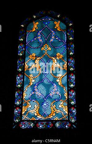Stained glass window, Harem, Topkapi Palace, Istanbul, Turkey - Stock Photo