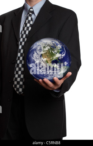 Businessman with the world in his hands - Stock Photo