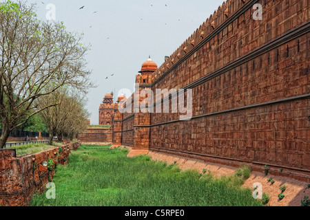 the red sand stone wall of the red fort in Delhi India - Stock Photo