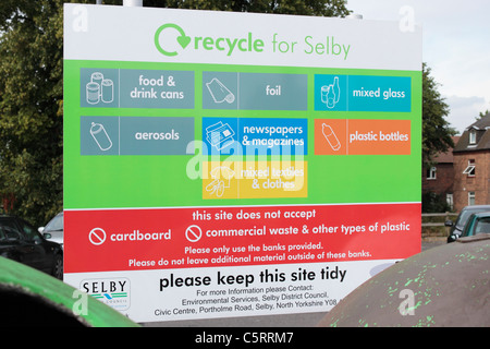 Recycle for Selby Sign behind a bank of recycling bins in the Back Micklegate Car Park - Stock Photo