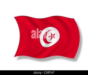 Illustration, Flag of Tunisia - Stock Photo