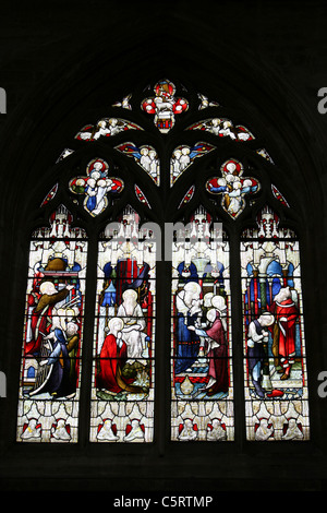 Stained Glass Window In St Botolph's Church, Boston, Lincolnshire, UK - Stock Photo