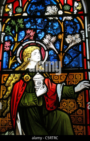 Stained Glass Window Of Mary From Bible Passage John 20:17, St Peter's Church Gunby, Lincolnshire, UK - Stock Photo