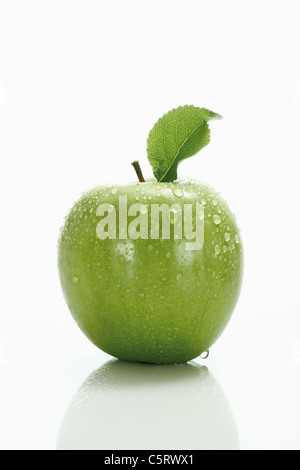 Green apple with leaf - Stock Photo