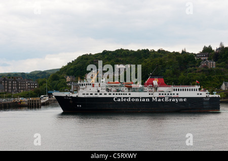 The Caledonian MacBrayne car ferry MV Isle of Mull  at Oban harbour. - Stock Photo