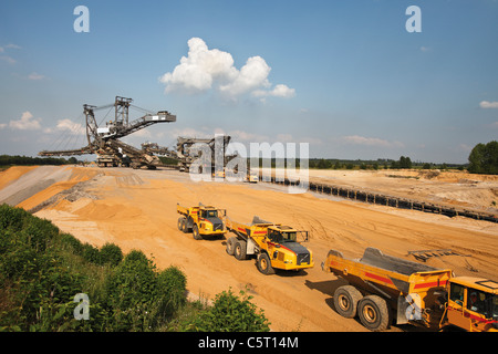 Germany, North Rhine-Westphalia, Glesch, Brown coal surface mining - Stock Photo