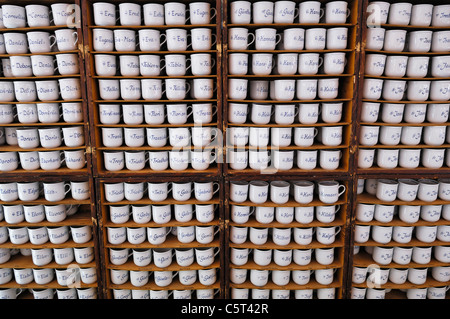 Germany, Bavaria, Munich, Auer Dult, traditional market, Names written on cups - Stock Photo