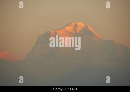 Sunrise on Dhaulagiri mountain from Poon Hill, Annapurna circuit, Nepal, Asia - Stock Photo