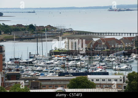 Aerial view of Ocean Village Marina, Southampton, England, showing Southampton Water and the Solent - Stock Photo