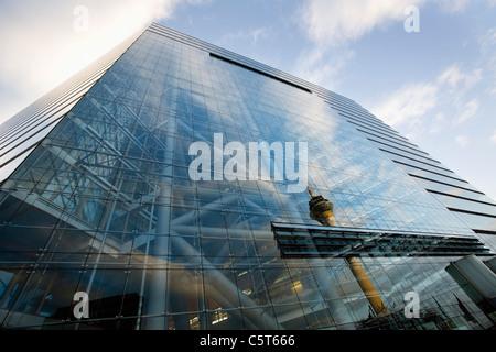 Germany, North Rhine Westphalia, Düsseldorf,  City Gate, Office building, low angle view - Stock Photo