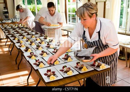 Mini Dessert Platter: Raspberry Pavlova, Chocolate Fudge Cake, Apple Crumble - Stock Photo