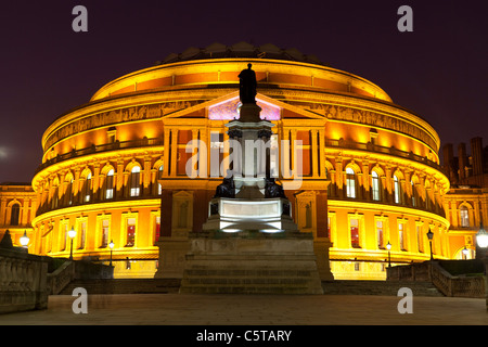 Royal Albert Hall at dusk with lights London UK - Stock Photo