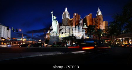 night shot of hotel new york new york on the las vegas strip - Stock Photo