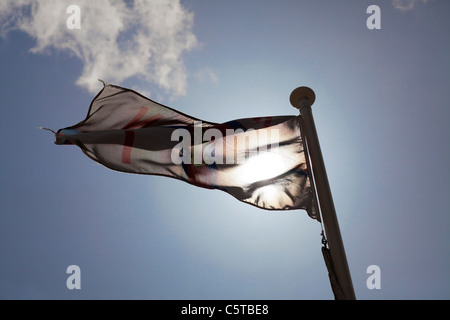 royal national lifeboat institute flag against sky - Stock Photo