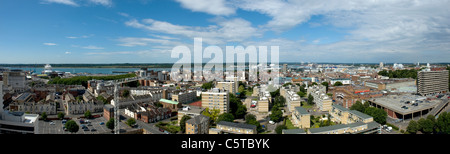 Rooftop panoramic view of Southampton city centre and skyline looking West - Stock Photo