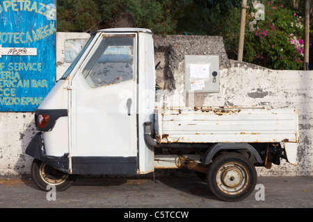 Piaggio Ape mini van Stromboli Italy - Stock Photo