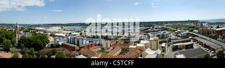 Rooftop panoramic view of Southampton city centre and skyline looking East - Stock Photo