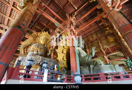 The great buddha statue in Todaiji, a World Heritage Site in Nara, Japan. - Stock Photo