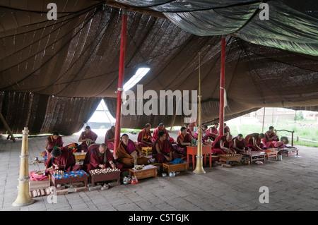 Tibetan Buddhist monks pray in summer time horse hair tent, Arou Ba Temple, Qilian, Qinghai Province, China - Stock Photo
