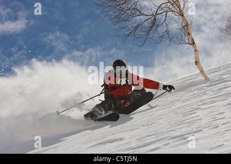 India, Kashmir, Gulmarg, Man skiing downhill - Stock Photo