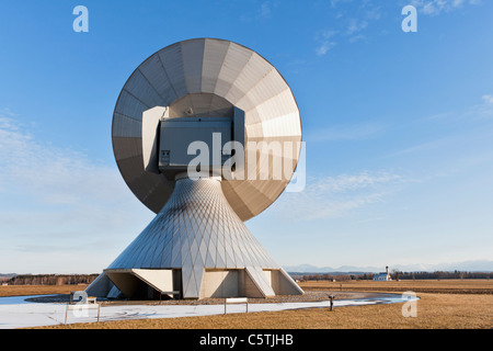 Germany, Bavaria, Raisting, View of antennas at earth station - Stock Photo