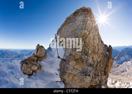 Germany, Bavaria, Wetterstein, Zugspitze, Mountain top - Stock Photo