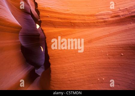 USA, Arizona, Lower Antelope Canyon, Sandstone walls - Stock Photo