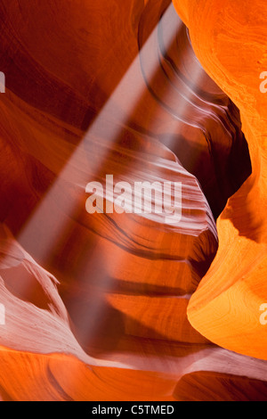 USA, Arizona, Upper Antelope Canyon, Sunbeams - Stock Photo
