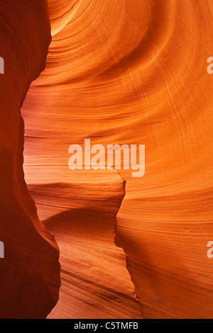 USA, Arizona, Lower Antelope Canyon, Sandstone walls - Stock Photo
