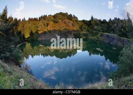 Germany, Bavaria, Franconia, Lower Franconia, Rhoen, View of basalt lake near riedenberg - Stock Photo