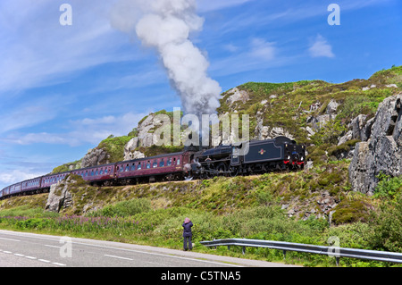 The Jacobite steam train has just left Mallaig on its return journey to Fort William in the West Highlands of Scotland - Stock Photo
