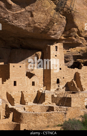 USA, Colorado, Mesa Verde National Park, Square Tower House - Stock Photo