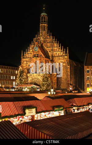 Germany, Bavaria, Franconia, Frauenkirche, Nuremberg, View of Christkindlmarkt - Stock Photo