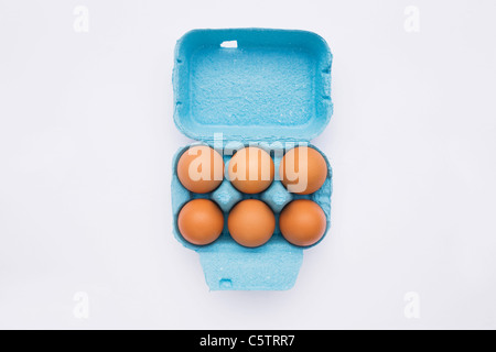 Eggs in box, elevated view