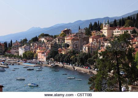 Europe, Croatia, Kvarner Gulf, Istria, View of volosko near opatija - Stock Photo