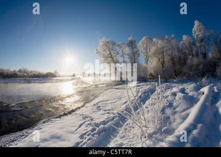 Germany, Bavaria, Upper Bavaria, Geretsried, View of dawn at Isar river - Stock Photo