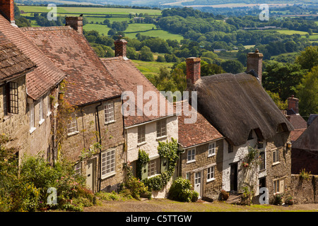 Gold Hill and view over Blackmore Vale Shaftesbury, Dorset, England  UK GB EU Europe - Stock Photo