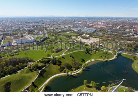 Germany, Bavaria, Munich, View of city with olympic park - Stock Photo