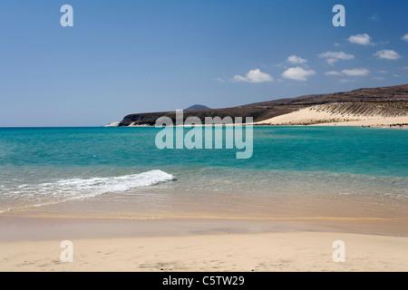 Spain, Canary Islands, Fuerteventura, Jandia, View of sotavento beach - Stock Photo