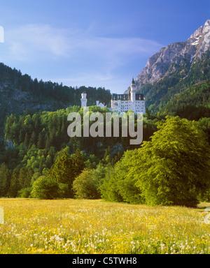 Germany, Bavaria, Swabia, Allgaeu, View of neuschwanstein castle - Stock Photo