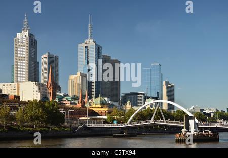 Australia, Victoria, View of Melbourne central business district (CBD) and yarra river - Stock Photo