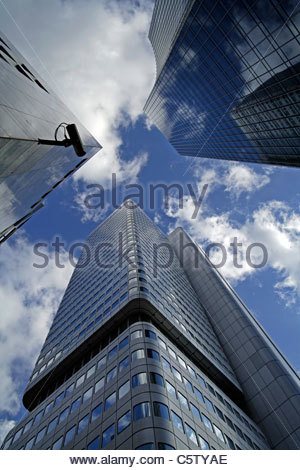 Germany, Frankfurt on the Main, Financial district, Dresdner Bank Building, Low angle view - Stock Photo