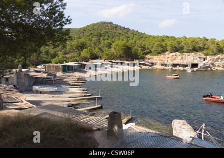 Ibiza, Balearics, Spain - Sa Caleta bay and beach - Stock Photo