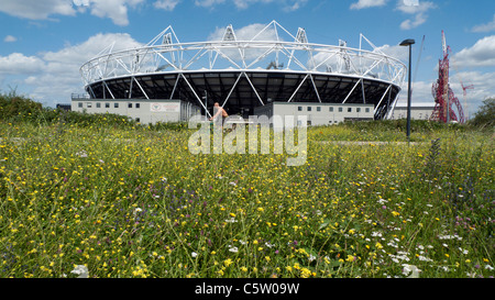 Nigel Dunnett wildflowers growing in the garden and cyclist on path Olympic Stadium with summer wildflowers in foreground - Stock Photo