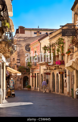 Early morning walk through Taormina, Messina Sicily Italy - Stock Photo